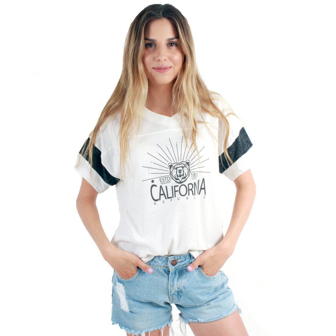 California Republic Golden State Powder Puff Tee In Eco Ivory