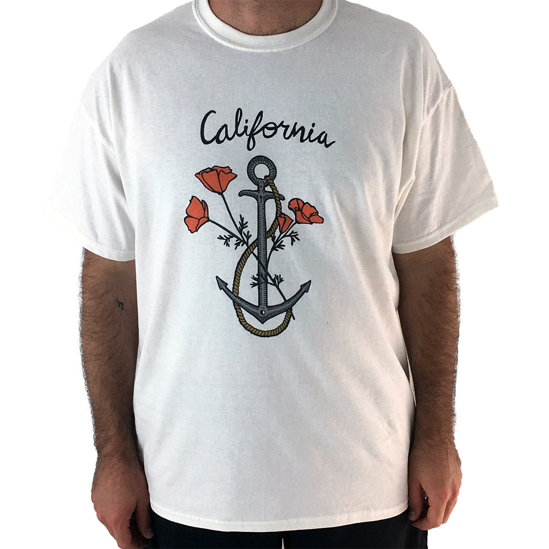 California Anchor with Poppies Men's Lightweight Fitted T-Shirt/Tee