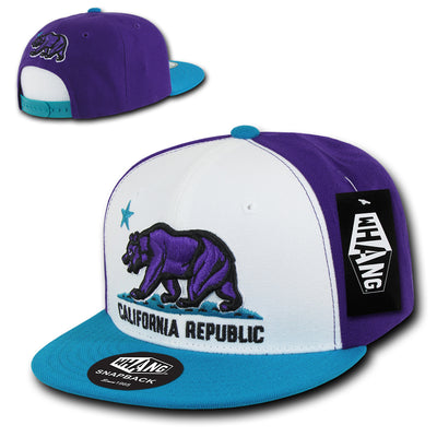 California Republic Cali State Bear Flag Snapback Hat Teal Purple White by Whang