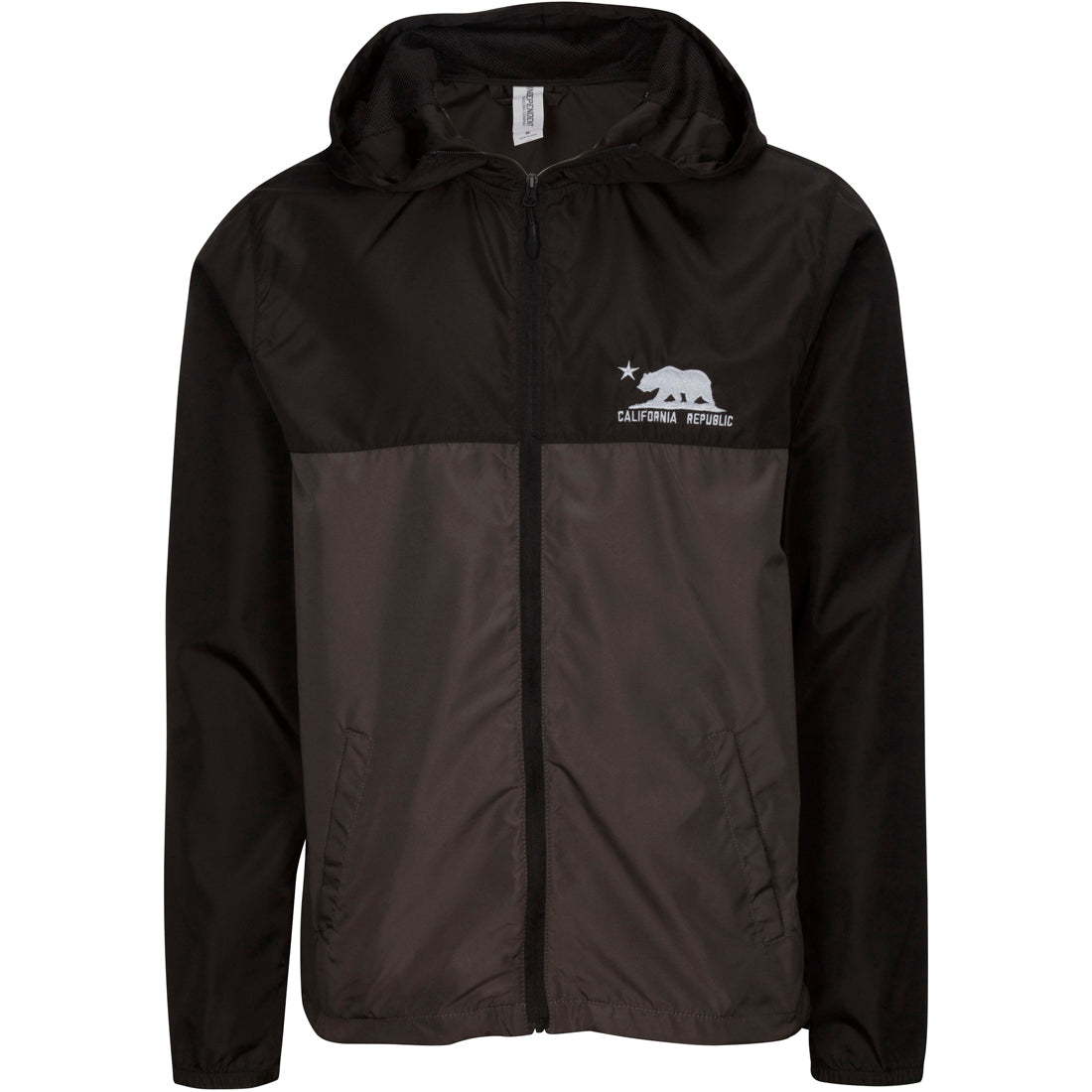 California Republic Embroidered Light Weight Windbreaker Zip Jacket - Black/Graphite
