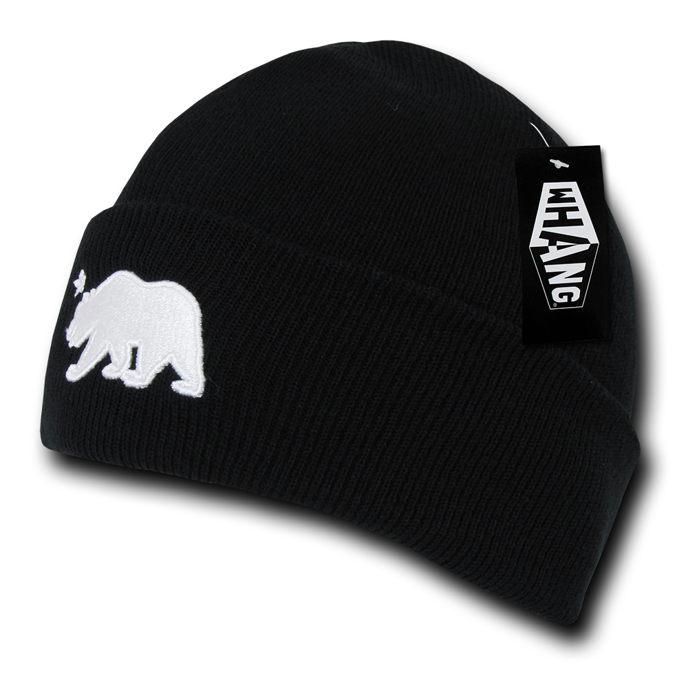 California Republic State Bear Flag Embroidered Long Beanie - Black/White