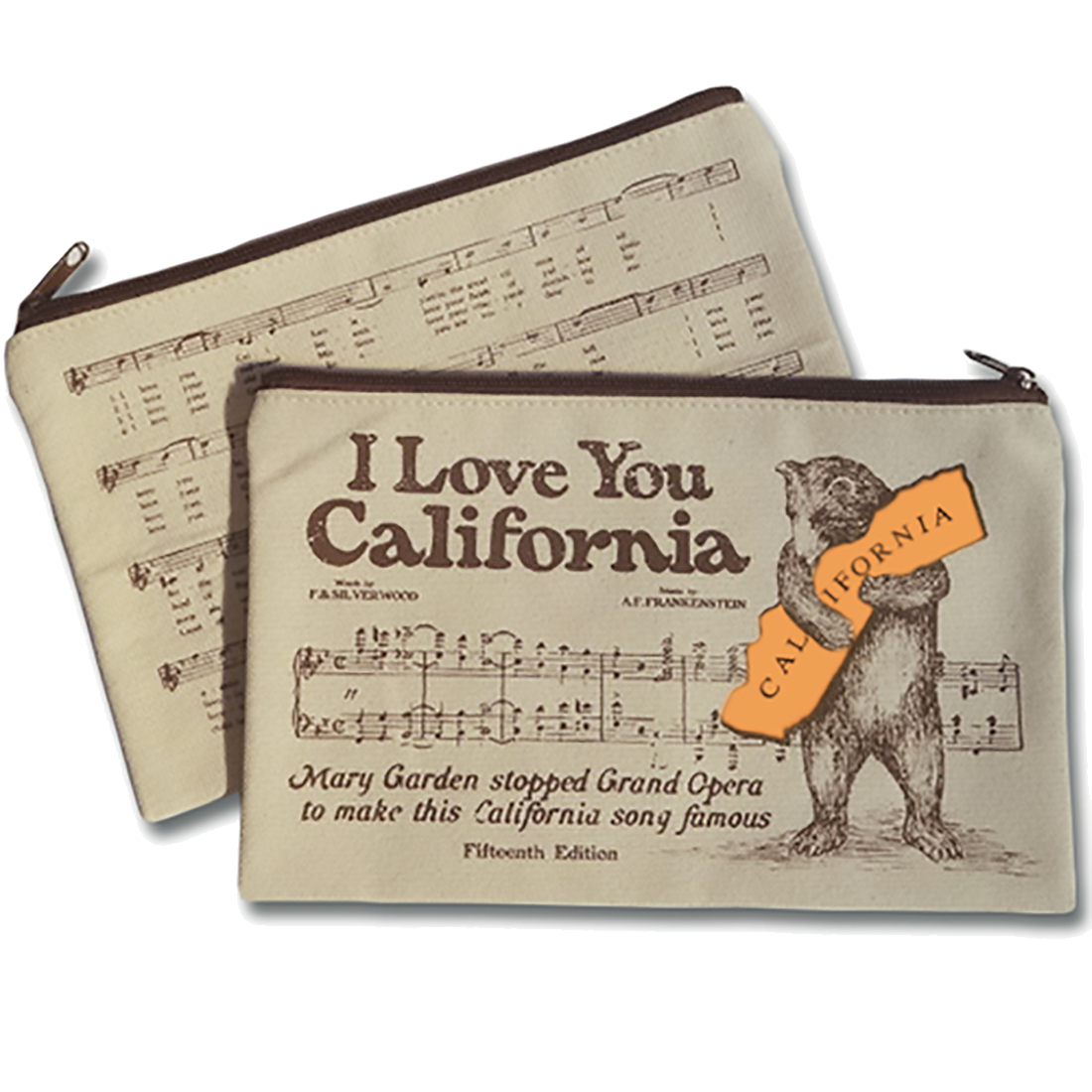 I Love You California Sheet Music Zipper Pouch