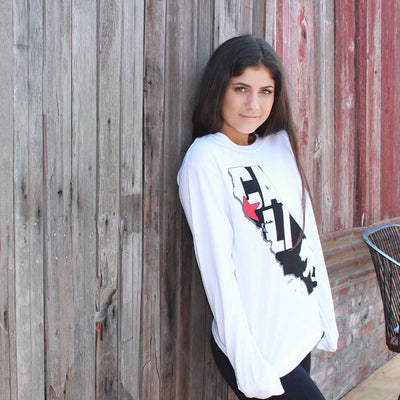 Cali Map Silhouette Outline Crewneck Sweatshirt