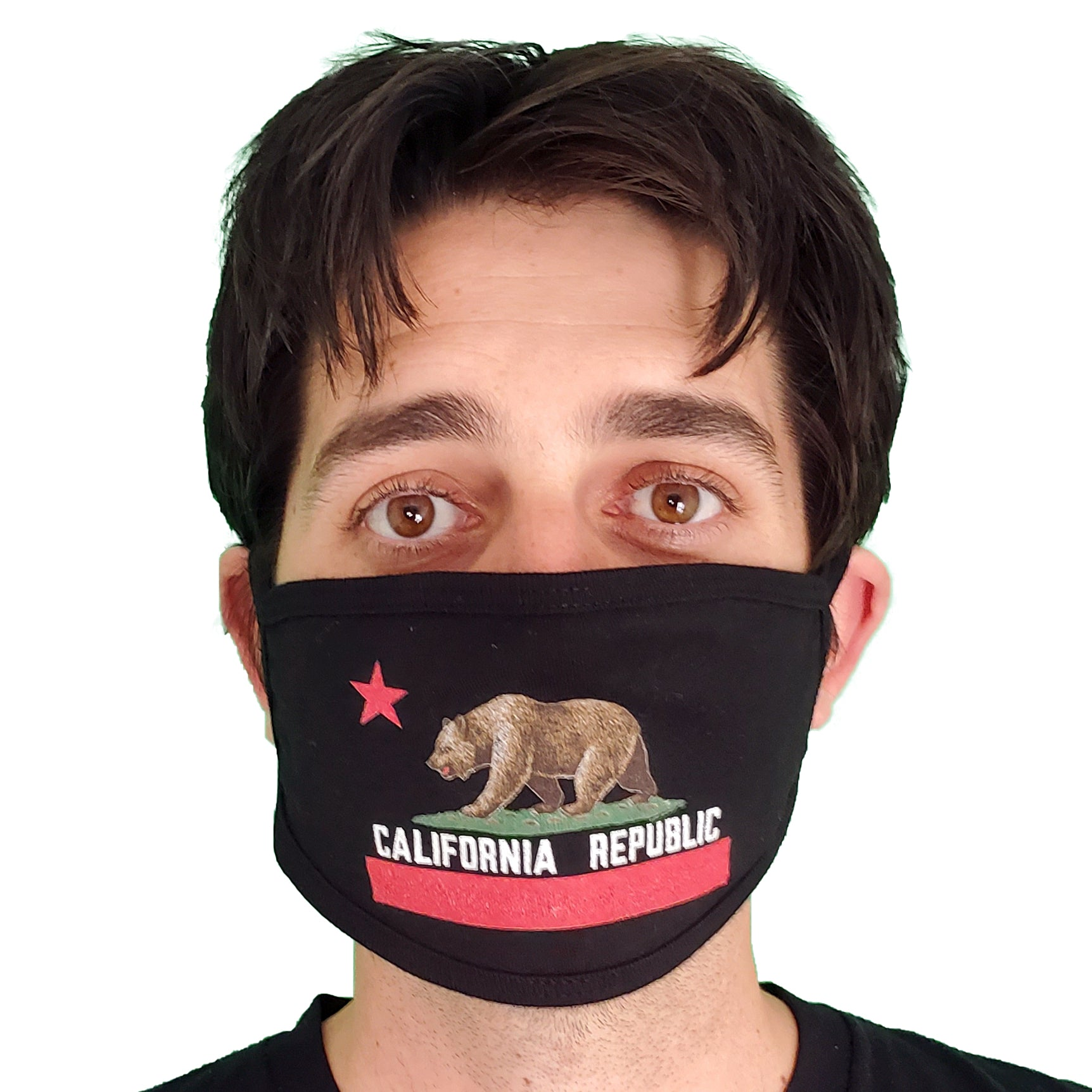 California Republic Flag Premium Flat Face Mask - Black