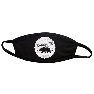 California Republic Bottle Cap Premium Flat Face Mask - Black