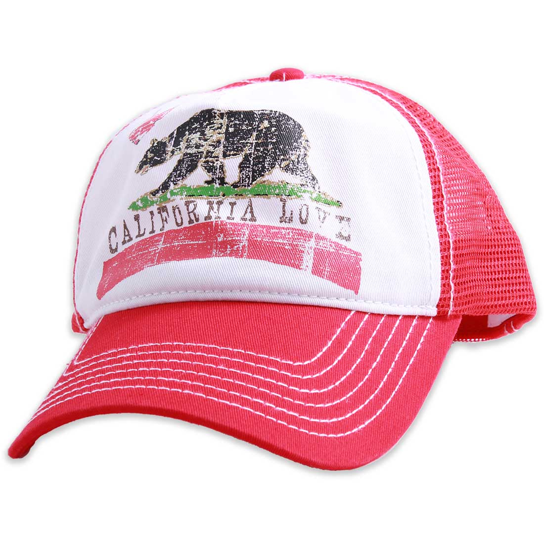 California Love Distressed Juniors Pit Stop Twill Trucker Hat