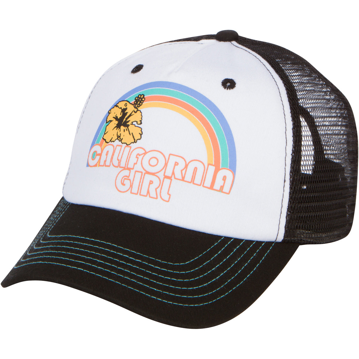 California Girl Trucker Snapback Hat - Black/White