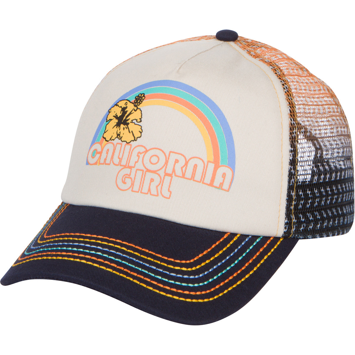 California Girl Trucker Snapback Hat - Vintage Cream with Rainbow Stitching
