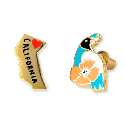 Cali State and Quail Earrings - J222