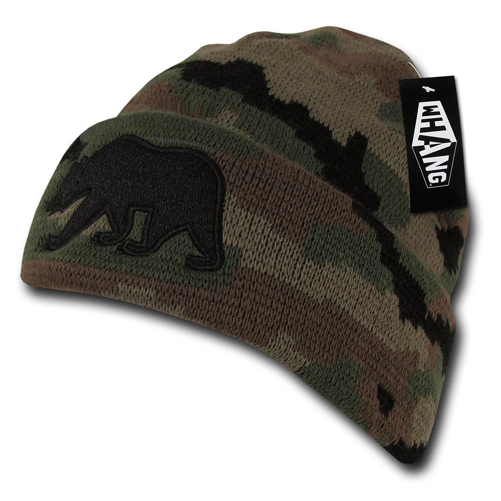 California Republic State Bear Flag Embroidered Beanie - Camo/Camouflage