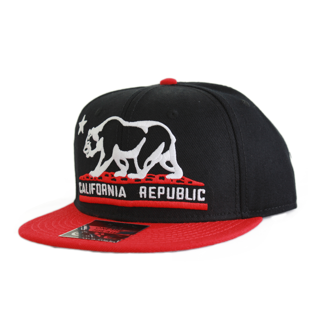 California Republic Embroidered Bear Flag Flat Bill Snapback Hat - Black/Red