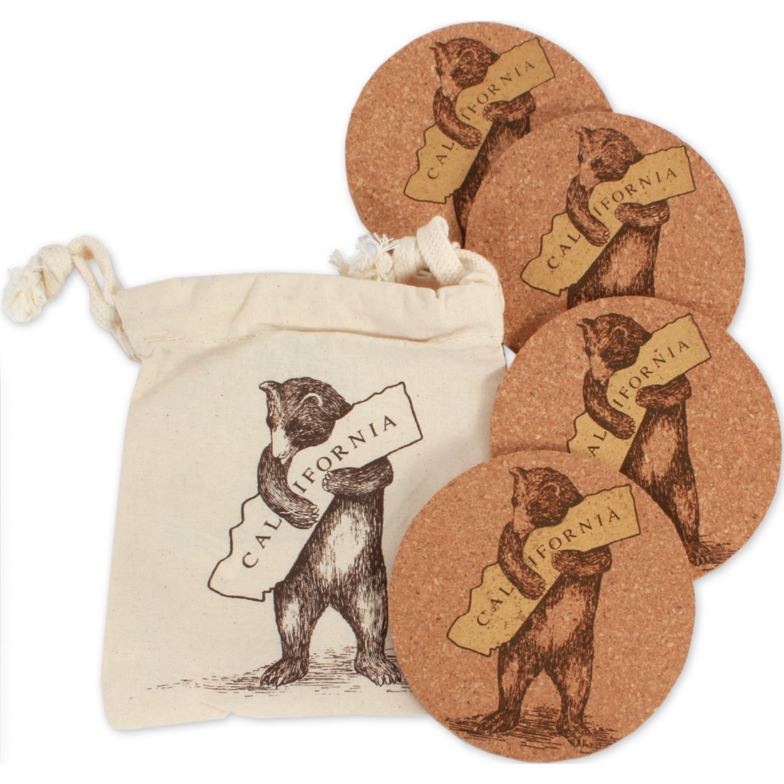 California Bear Hug Coasters set of 4