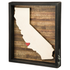 California Heart Rustic Box Sign