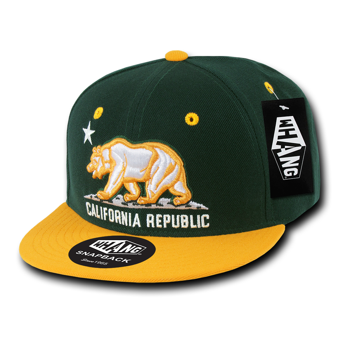 California Republic Cali State Bear Flag Oakland Snapback Hat by Whang