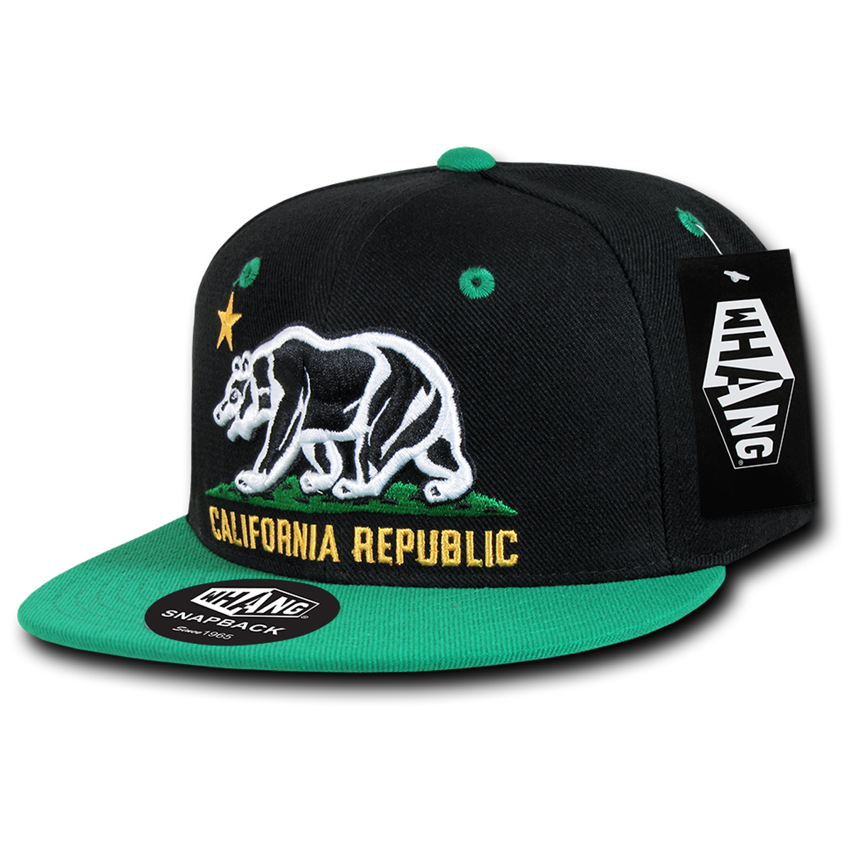 California Republic Cali State Bear Flag Snapback Hat by Whang Black Kelly Green