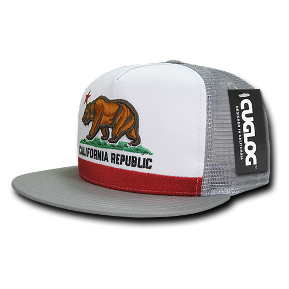 6845bb598eb California Republic Five Panel Trucker Hat in Grey - California ...