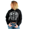 Los Angeles Circle Print Cropped Hoodie Black