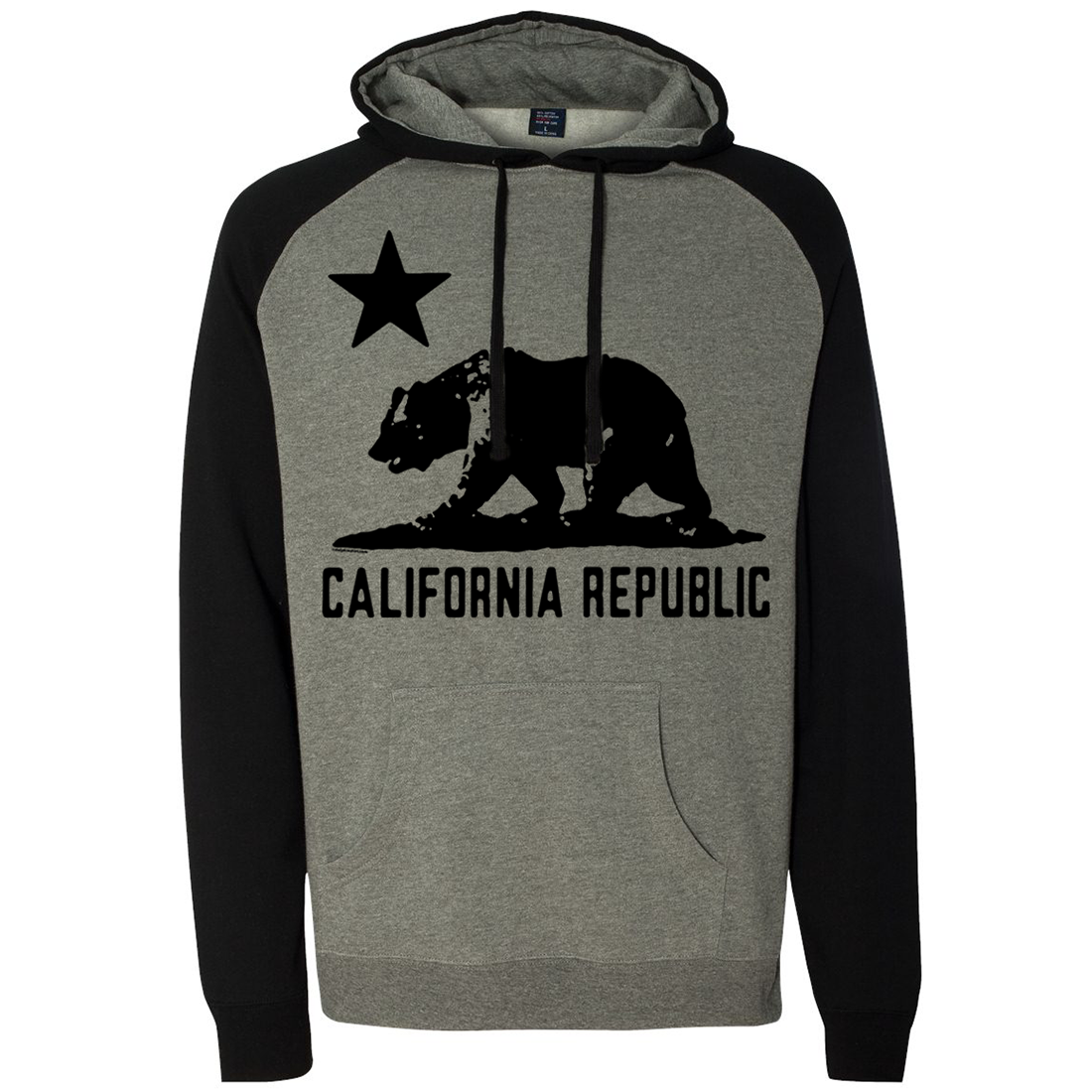 California Republic Black Oversized Silhouette Raglan Hoodie