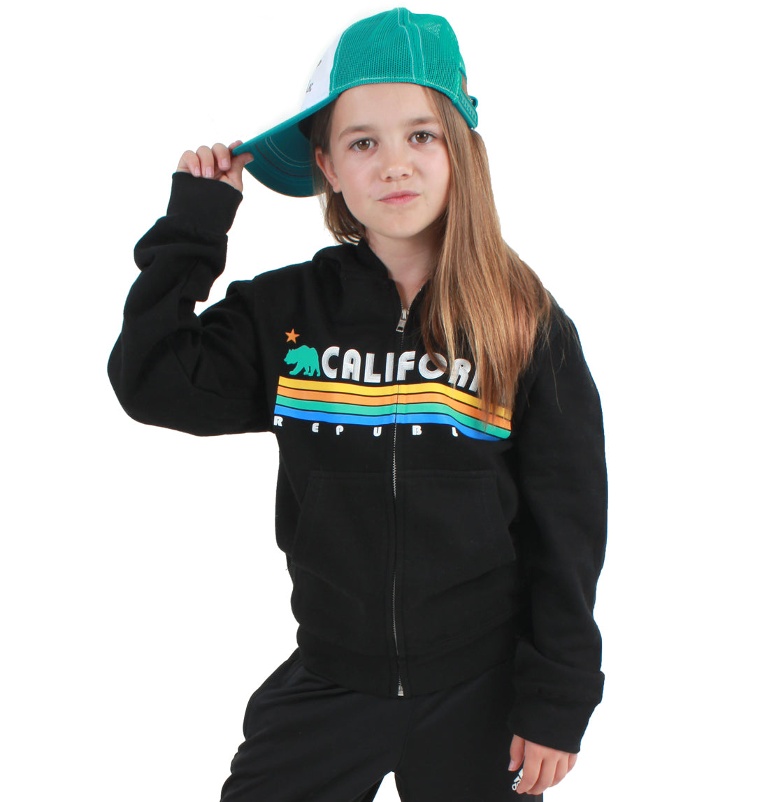 California Republic Vintage Stripe Premium Youth Zip-Up Hoodie