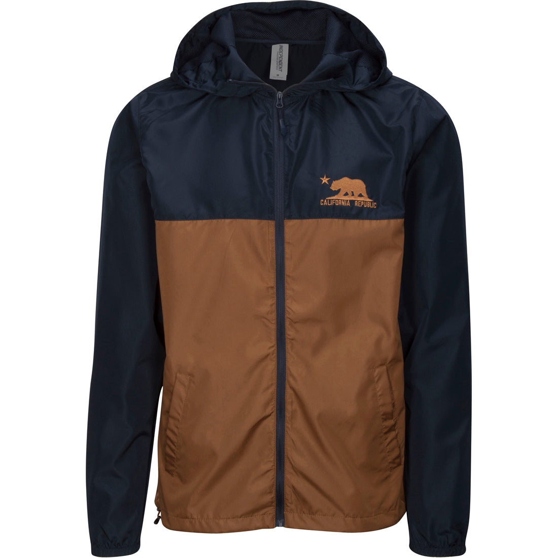 California Republic Embroidered Light Weight Windbreaker Zip Jacket - Navy/Saddle