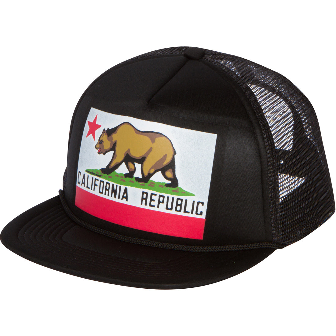 California Republic Original State Flag Snapback Hat On Black - Flat Bill