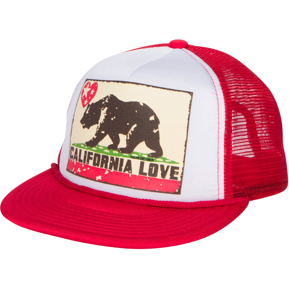 California Love Flag Flat Bill Snapback Mesh Truckers Cap