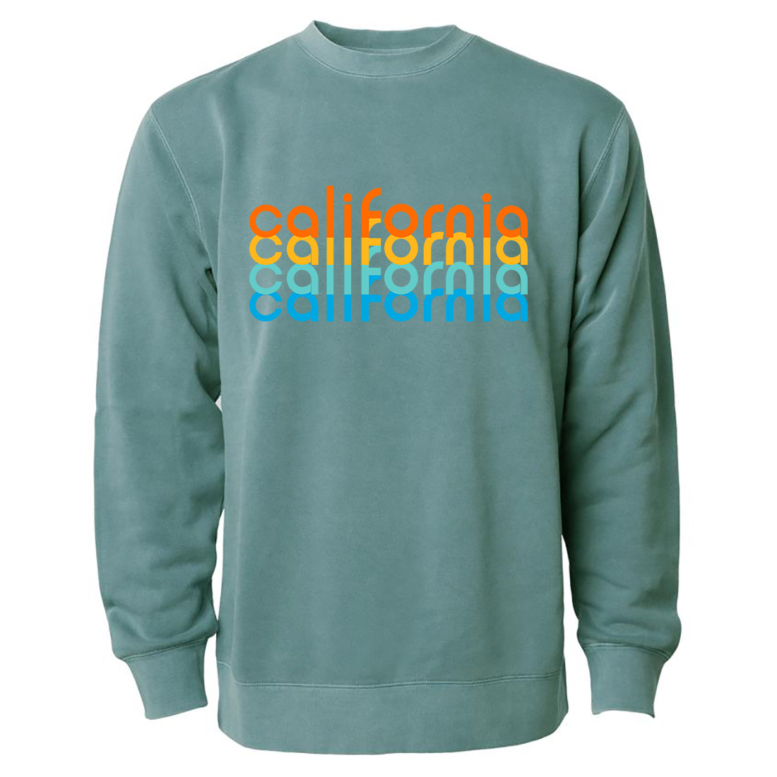 California Repeat Text Pigment Dyed Crewneck Alpine Green