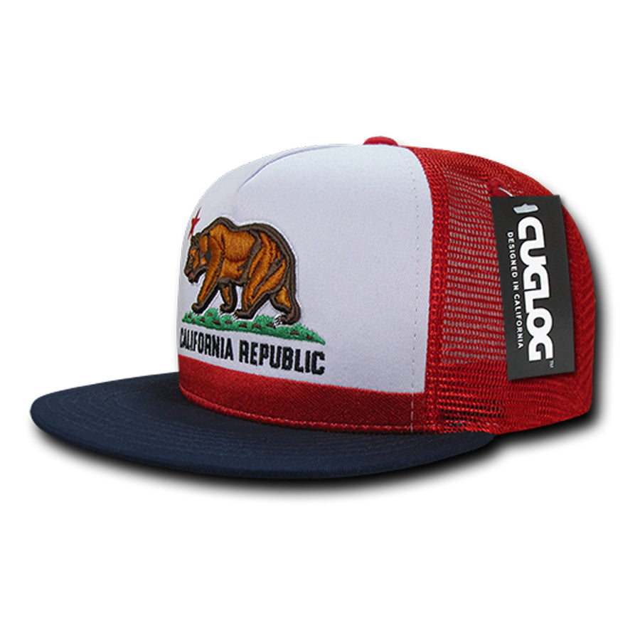 b4ed4a9a421 California Republic Five Panel Trucker Hat in Red Navy