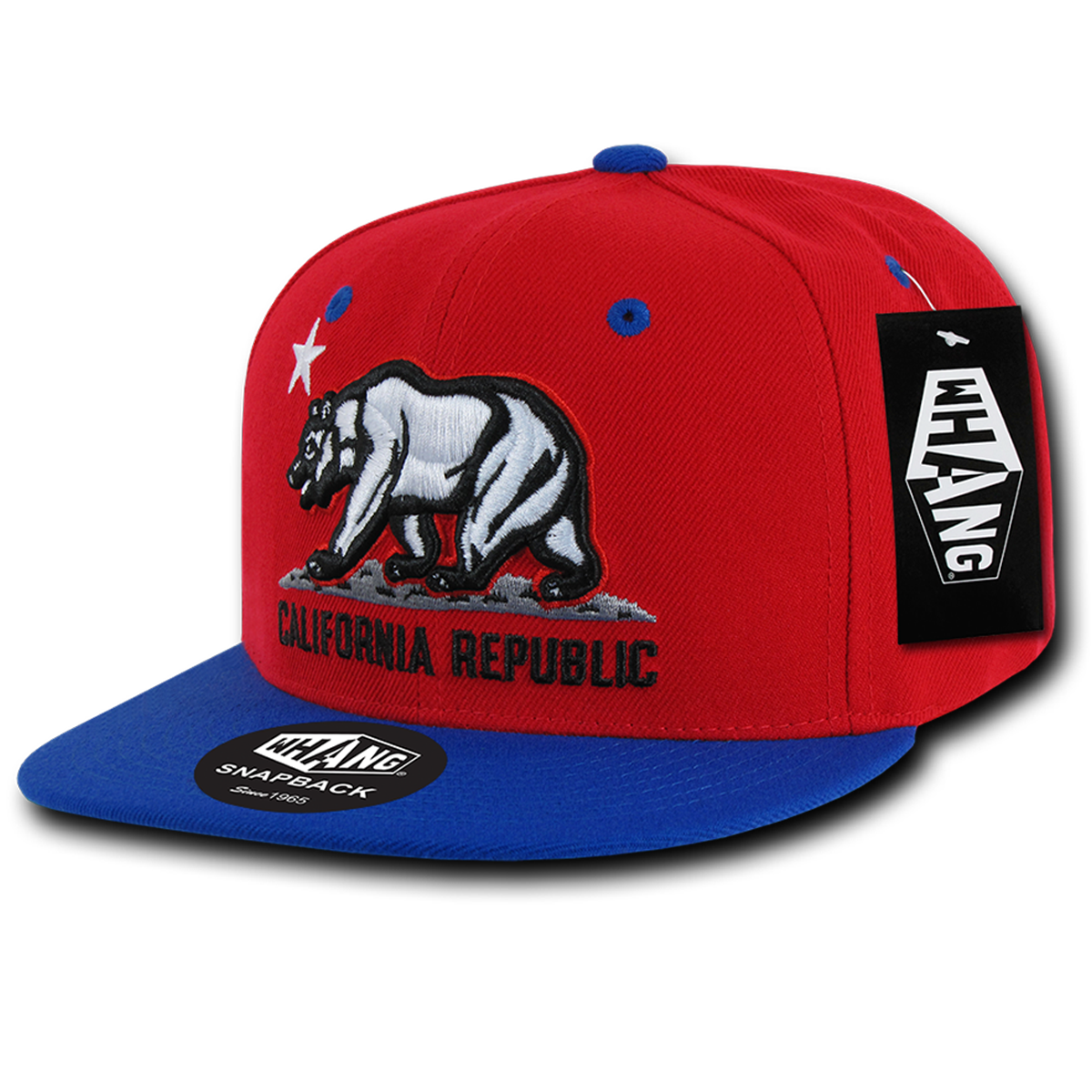 ed50c08601f California Republic Cali State Bear Flag Snapback Hat by Whang Red Royal