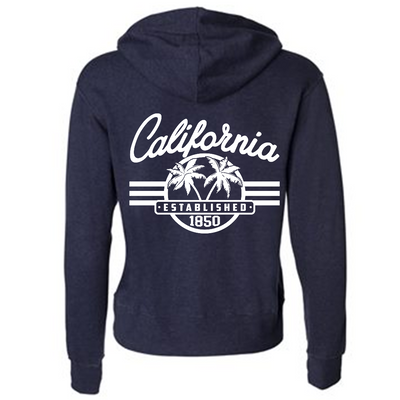 California Palm Tree Logo Premium Unisex French Terry Full-Zip Sweatshirt - Heathered Navy
