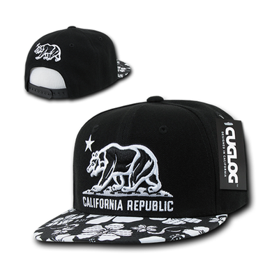 b59fcc18f76 California Republic Black Floral Snapback by Cuglog - California ...