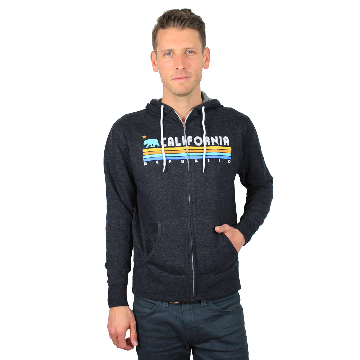 California Republic Vintage Stripe Zip-Up Hoodie