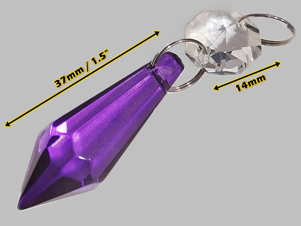 "Purple Cut Glass Torpedo 37 mm 1.5"" Chandelier Crystals Drops Beads Droplets Light Parts"
