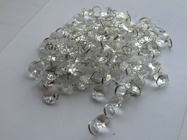 10 Strands Clear 14mm Octagon Chandelier Drops Glass Crystals 2m Garland Beads Droplets 10