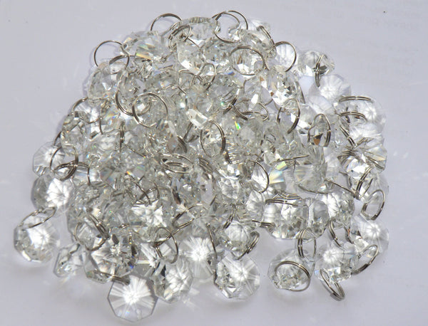 10 Strands Clear 14mm Octagon Chandelier Drops Glass Crystals 2m Garland Beads Droplets 8