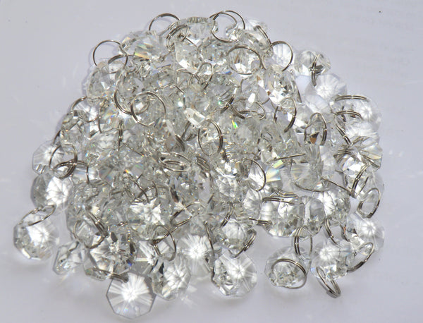 14mm Octagon Clear Transparent Chandelier Drops Cut Glass Crystals Garlands Beads 2