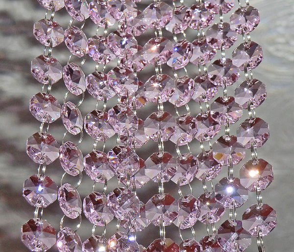Antique Art Deco Pastel Rose Pink Chandelier Drops Parts Cut Glass Crystals Prism Droplets Beads Charms Christmas Tree Wedding Decoration Vintage 2m Garland 5