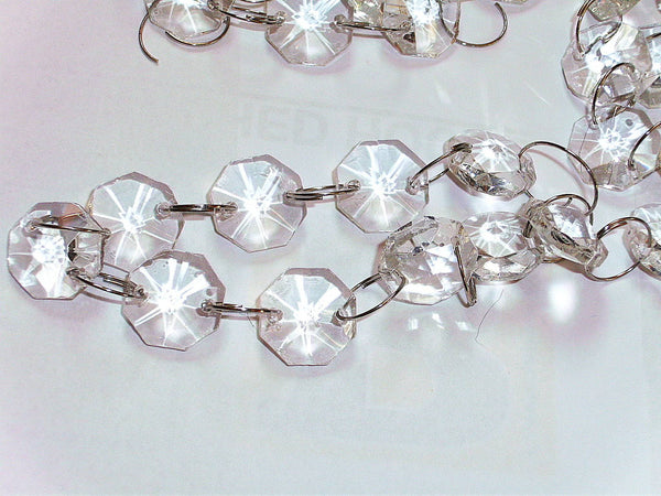Clear 14mm Octagon Chandelier Drops Glass Crystals Garland Beads 6