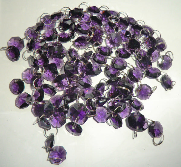 12 Strands Purple 14mm Octagon Chandelier Drops Glass Crystals 2.4m Garland Beads Droplets 5
