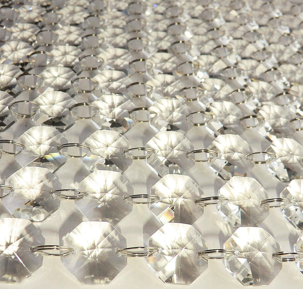 10 Strands Clear 18mm Octagon Chandelier Drops Glass Crystals 2.25m Garland Beads Droplets 8