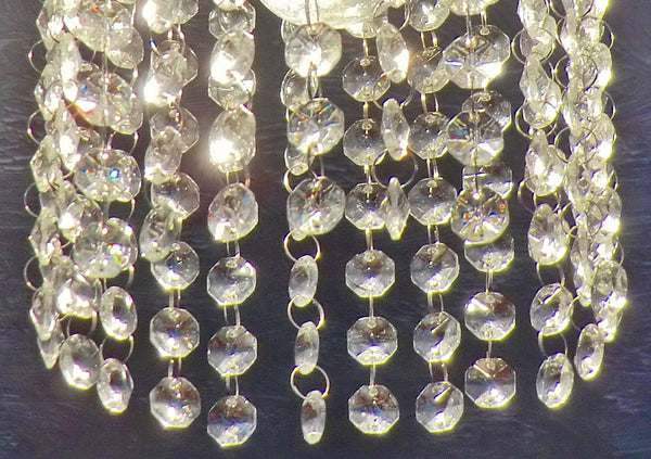 10 Strands Clear 18mm Octagon Chandelier Drops Glass Crystals 2.25m Garland Beads Droplets 1