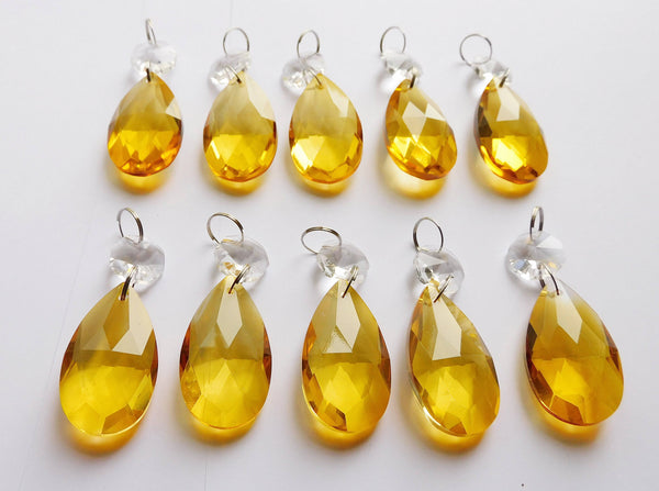 "1 Orange Cut Glass Oval 37 mm 1.5"" Chandelier Crystals Drops Beads Droplets Light Parts 10"