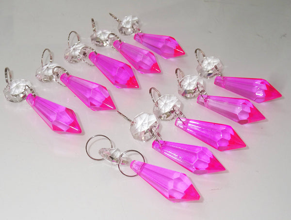 "Hot Pink Cut Glass Torpedo 37 mm 1.5"" Chandelier Crystals Drops Beads Droplets Light Parts 10"