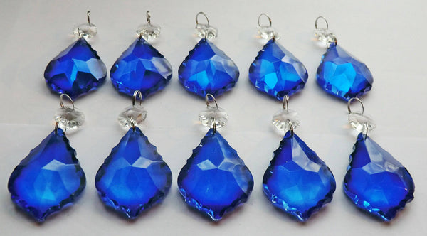 "Blue Cut Glass Leaf 50 mm 2"" Chandelier Crystals Drops Beads Droplets Light Lamp Parts 9"