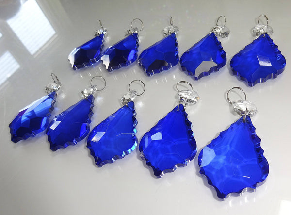 "Blue Cut Glass Leaf 50 mm 2"" Chandelier Crystals Drops Beads Droplets Light Lamp Parts 7"