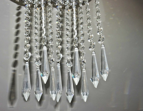 Clear Glass Torpedo XL Icicle 335 mm / 13.4 inch Chandelier Chain of Drops Crystals Beads Garland Pendant Decoration 12