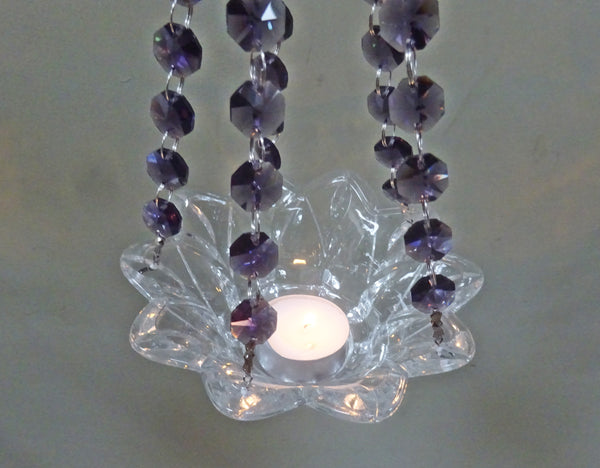 Purple Glass Chandelier Tea Light Candle Holder Wedding Event or Garden Feature 9