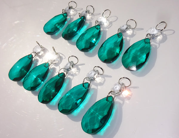 "Peacock Green Cut Glass Oval 37 mm 1.5"" Chandelier Crystals Drops Beads Droplets Light Part 5"