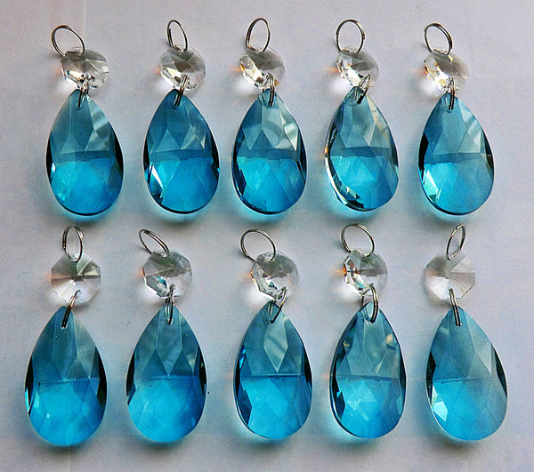 "Teal Blue Cut Glass Oval 37 mm 1.5"" Chandelier Crystals Drops Beads Droplets Light Parts 8"