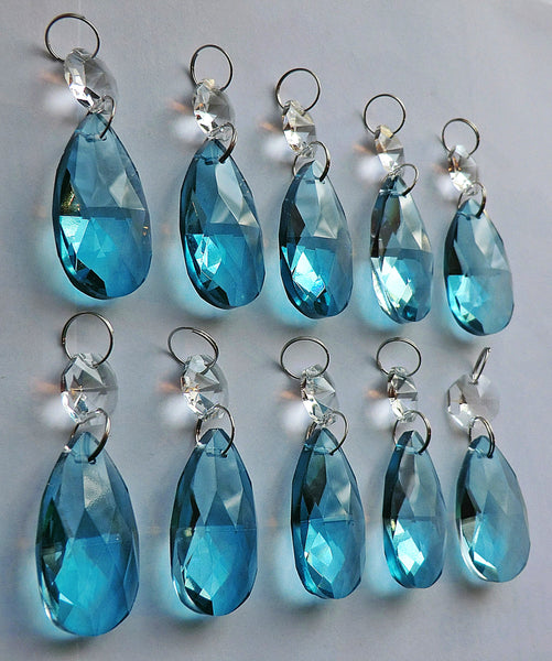 "Teal Blue Cut Glass Oval 37 mm 1.5"" Chandelier Crystals Drops Beads Droplets Light Parts 10"
